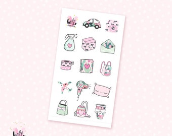 Prinkly pink mini sheet - 14 stickers for the Erin Condren, Personal planners, Travelers notebooks