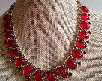Lisner Red Jelly fruit salad Necklace with rhinestones