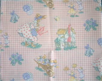 Laura Ashley vintage nursery fabric. Pink gingham with 'Mary Mary Quite Contrary'. Rare design. Little girls decor. Sold by the half-yard.