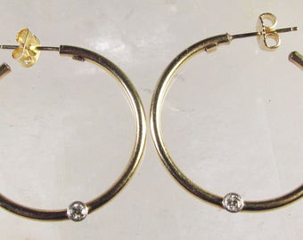 14k Yellow Gold Pierced Post Earrings with Round Brilliant Diamond Accents