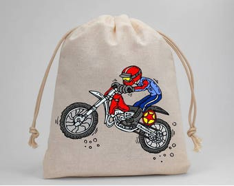 Motocross, Dirt Bike, Party Bags, Birthday, Party Favor Bags, Candy Bags, Treat Bags, Muslin Bags, Birthday Party, Goodie Bags