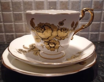 Royal Imperial Tea Cup Trio, Saucer, Plate, White with Gold Black Roses, Tea Cup For One,  Afternoon Bone China, Afternoon Tea, Vintage