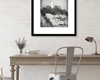 Coit Tower, San Francisco Photography, Black and White Print, Telegraph Hill, California, Fine Art Print, Vertical Wall Art, Home Decor