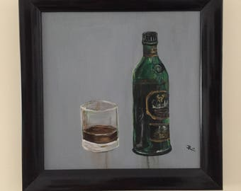 Whiskey painting-Glenfiddich bottle and glass-painting acrylic paint-realistic art-including wooden frame black