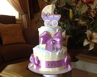 Baby girl diaper cake/carriage diaper cake/centerpiece Yellow and lavender light purple diaper cake