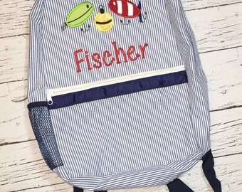 Seersucker Backpack with Fishing Lures, Seersucker Diaper Bag, Seersucker School Bag, Seersucker Bag, Diaper Bag, School Bag, Book Bag, B