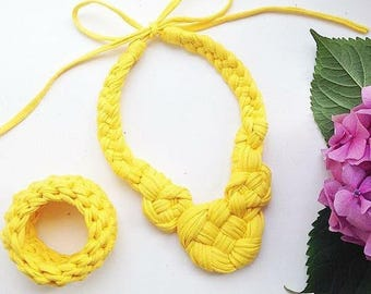 yellow stylish braided cotton necklace and braslet, Jewelry & Accessories
