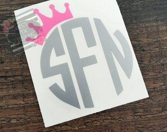 Crown Monogram   Tilted Crown Monogram   Princess Monogram   Monogram Car Decal   Princess Crown Decal   Preppy   Personalized