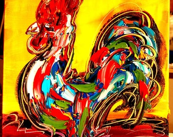 Mark Kazav ROOSTER on stretched canvas