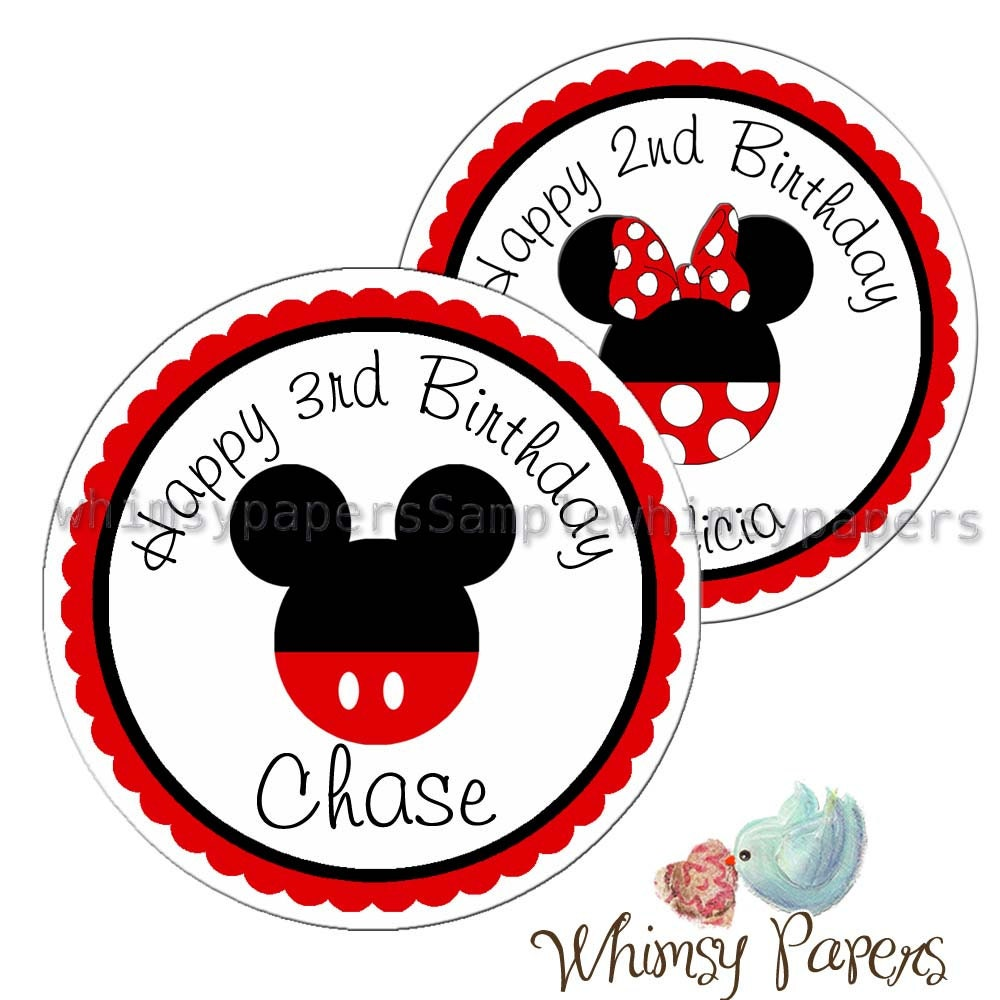 mickey mouse stickers disney birthday labels minnie mouse. Black Bedroom Furniture Sets. Home Design Ideas