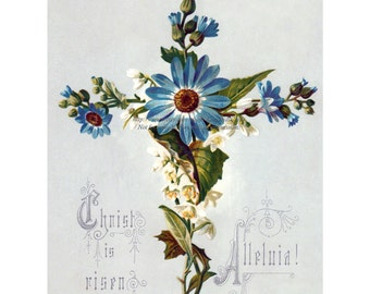 Cornflower Easter Cross made of Flowers Repro Greeting Card
