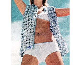 Bikini  Pattern and Beach Cover-Up Crochet Pattern Motif Granny Square Tunic 70s Pattern  Instant Download PDF SW104