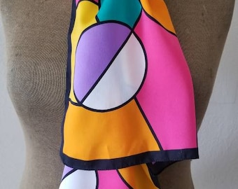 Vintage mod 60s 70s colorful Virginia Slims scarf, made in Italy