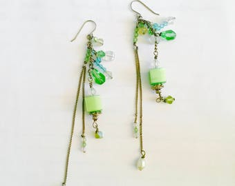 Fun Long Dangle Earrings with French Hooks, Green, Blue,Clear Crystals, Faux Pearls, BoHo, Gypsy