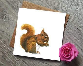 Squirrel Card - Red Squirrel Card - Squirrel Gifts - Squirrel Art - Squirrel Gift - Red Squirrel - Squirrel Lovers - Squirrel Cards