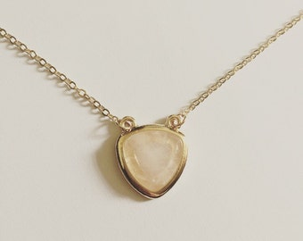 18k Gold Plated Heart Shaped Faux Stone Necklace