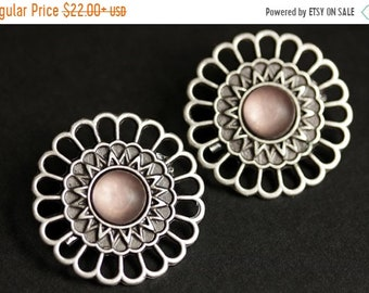 MOTHERS DAY SALE Set of Two Viking Shoulder Brooches. Pink Norse Brooches. Pink Satin Glass and Aged Silver Apron Pins. Historical Reenactme