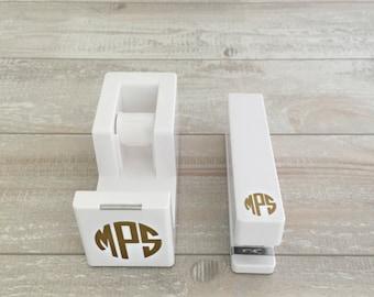 Monogrammed Tape Dispenser & Stapler Set