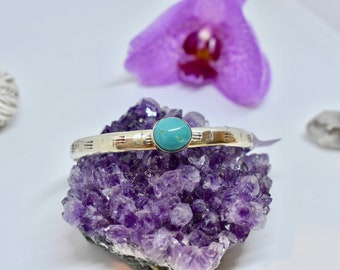 Turquoise Cuff, Sterling Silver, Stacking Turquoise Cuff, Boho Jewelry, Southwestern Jewelry, Gift for Her