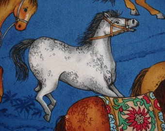 ASIAN HORSE FABRIC Luana Rubin for Robert Kaufman - Memoirs From China Blue -  Extremely Rare - 1 Yard - A32