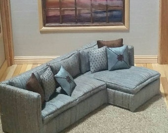 1:12 scale sectional sofa for dollhouse , dioramas using high end designer fabrics.