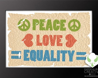 Print: Peace, Love, Equality — love, distressed, LGBT