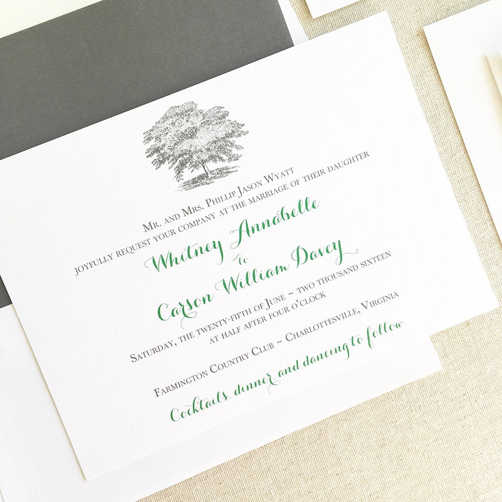 Oak Tree Wedding Invitation Plantation Wedding Invitation