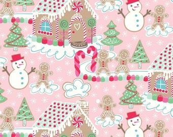 OOP HTF one yard Sugar Rush Fabric Gingerbread House Candy Christmas Xmas Holiday with Snowmen on Pink