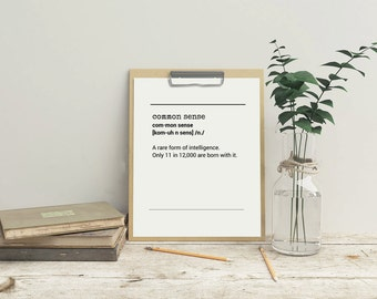 Definition Common Sense - Definition Common Sense Printable Poster Art Funny Typography Quote Print Download Art Print Typography Art Funny