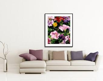 Petunias and Marigold Watercolor Floral-Fine Art Print-Original Watercolor-FRAMEABLE ART-Gliclee-Wedding-Home Decor-Collectibles-Wall Decor