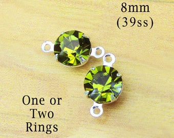 CLEARANCE SALE - Olivine green 8mm round glass beads - faceted rhinestone chatons for earring drops or glass connectors - One Pair