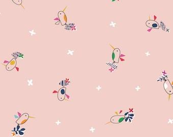 Dashwood Studio - Club Tropicana - Birdies on Pink - Cotton Fabric (Quilting/Dressmaking)
