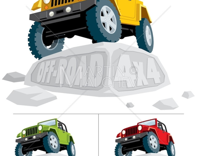 Off-Road 4x4 - Vector Cartoon Illustration. off road, jeep, vehicle, car, land, yellow, green, red, stone, extreme terrain, extreme sport