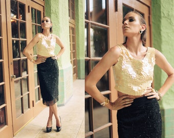 80s Skirt Black Vintage Tassel Beaded Sequin High Waisted Pencil Skirt