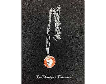 """Silver chain necklace """"El dia la Muerte"""", glass cabochon."""