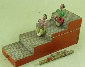 1850 German Mercury Tumbling Acrobats Toy Folding Steps Papered Automaton Antique