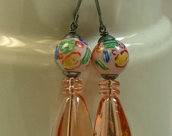 Vintage German Peach Teardrop Glass Dangle Drop Bead,Vintage Chinese Peach Porcelain Beads,Handmade Sterling Silver Ear Wires