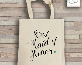 Maid of Honor Tote Bag - Natural Cotton Canvas Tote - Wedding Tote Bag - Maid of Honor Reusable Bag - Shoulder Bag - Canvas Bag