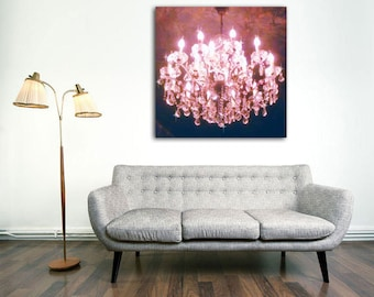 Chandelier Wall Art, Pink Chandelier Canvas, Chandelier Photography Large Art Pink, Romantic Home Decor, Girls Room, Gift Idea