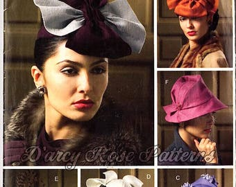 Vogue V0679 Misses' Vintage 1930s and 1940s Style Set of Hats Sewing Pattern