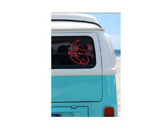 Bull Head Vinyl Decal, Vehicle, Yeti, Patriotic Decal, Transfer, Decal, U S Decal, Decal, Bull Sticker, Patriotism, Mascot