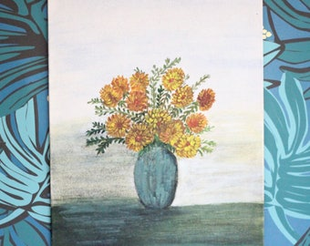 Vintage Flora Painting On Board / Floral Art / Bohemian Wall Decor