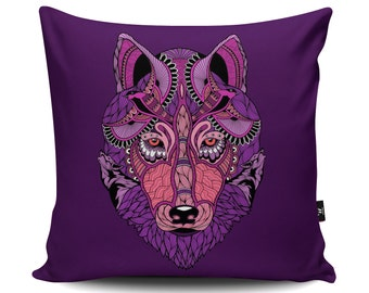 Purple Wolf Cushion by Paul Robbins | Wolf Animal Pattern Pillow | Stunning Wolf Illustration | Wolf Gift | Pink Faux Suede Cushion