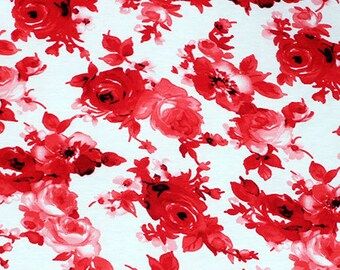 Red Pink Floral on White Cotton Spandex Blend Knit Fabric **UK Seller**