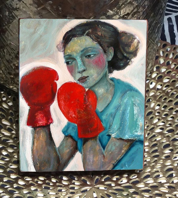 Fighter. Print Mounted on wood.