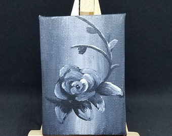 Rose - Black and White Acrylic mini Painting with Easel
