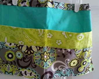 Gray, Green and Turquoise Floral/Flower Print Utility/Craft/Vender/Gardening Apron