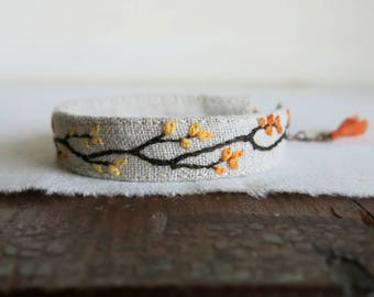 Fall Foliage Cuff Bracelet, Embroidered Bracelet, Tree Branch Bracelet, Linen Cuff Bracelet, Gift Under 40, Woodland Jewelry, Handmade