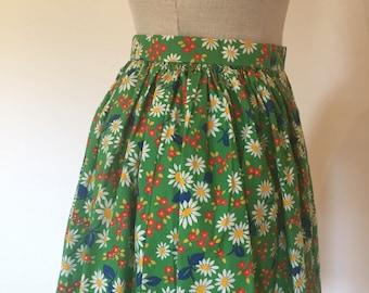 Vintage 60s Green Floral Skirt XS
