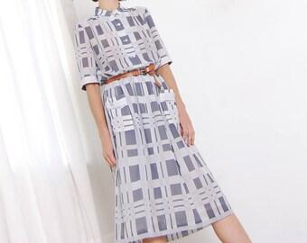 grey windowpane 80s dress